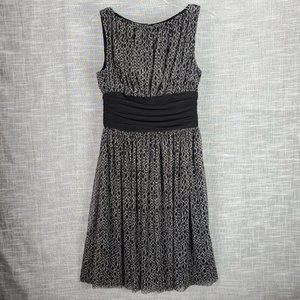 London Times Fit and Flare Dress 6 Black White